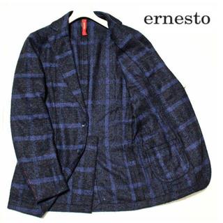 エルネスト(ELNEST)の《エルネスト》新品 イタリア製 シルク混 ウールチェックジャケット 紺×黒 44(テーラードジャケット)