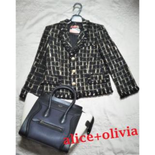 アリスアンドオリビア(Alice+Olivia)の【新品・未使用】alice+olivia テーラードツィードジャケット 8分袖(テーラードジャケット)