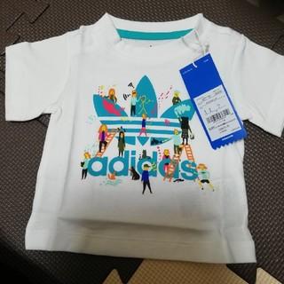 アディダス(adidas)の新品タグつきadidasトレフォイルTシャツ 70センチ 肩スナップあり(Tシャツ)