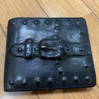 ミハラヤスヒロ(MIHARAYASUHIRO)のミハラヤスヒロ 炙り出し 財布 二つ折り レザー 黒 ウォレット  MIHARA(折り財布)