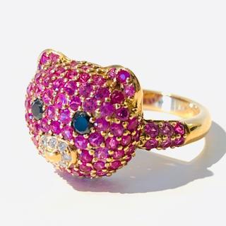 【新品】K18PG ピンクサファイア/ダイヤモンド クマモチーフ リング (リング(指輪))