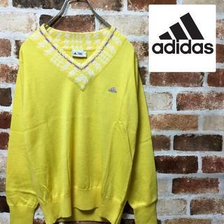 アディダス(adidas)のadidas(アディダス)イエロー ワンポイント刺繍ロゴ Vネックセーター(ニット/セーター)