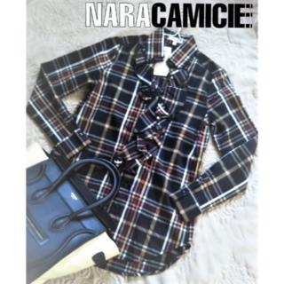 ナラカミーチェ(NARACAMICIE)の【新品・未使用】ナラカミーチェ イタリアンチェックフリル ロングシャツ 0(シャツ/ブラウス(長袖/七分))