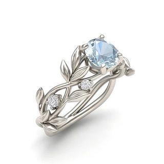 花柄 花 フラワー ブルー ステンレス レディース リング 指輪 12号(リング(指輪))