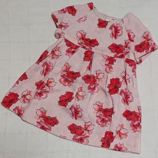 ザラキッズ(ZARA KIDS)の80 ZARA BabyGirl ピンクの花柄ワンピース(ワンピース)