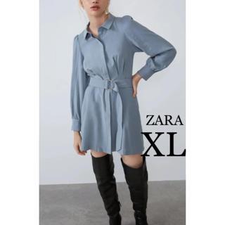 ザラ(ZARA)の【新品・未使用】ZARA ベルト付き シャツ ワンピース XL(ひざ丈ワンピース)