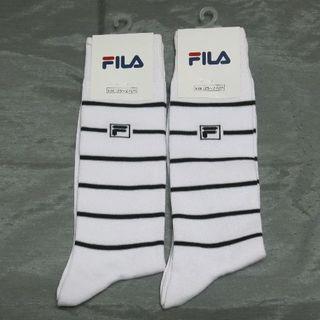 フィラ(FILA)の【2足セット】◇FILA・白地に黒のボーダーライン・25ー27☆彡a^^a(ソックス)
