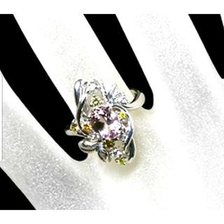 天然モルガナイト K18WG 天然カラーダイヤ&天然無色ダイヤ(リング(指輪))