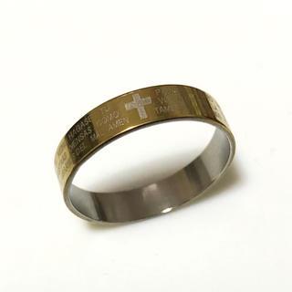 ステンレス指輪 細めゴールド十字架(リング(指輪))