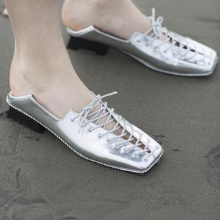 アメリヴィンテージ(Ameri VINTAGE)のLACEUP LOAFER - silver(ローファー/革靴)