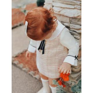 mezzo piano - 女の子ツイードワンピース ネックフリル 入学式 入園式
