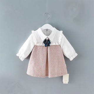 女の子襟付ツイードAラインワンピース 入学式 入園式 カジュアルドレス