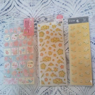 サンエックス(サンエックス)の文房具 さくらだより、ドロップ桜 団子、ラメクレープ野菊 シールセット廃盤品(シール)