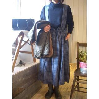 ネストローブ(nest Robe)のnest robe リトアニアリネンギンガムチェックサスペンダー付きスカート(ロングワンピース/マキシワンピース)