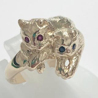 美品! 猫 ネコ リング 指輪 サファイア k18 ルビー イエローゴールド(リング(指輪))