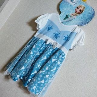 アナトユキノジョオウ(アナと雪の女王)の110#エルサ なりきり ワンピ 半袖(ワンピース)