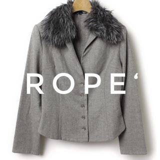 ロペ(ROPE)のROPE ロペ【美品】ファー 衿 ウール ショート丈 長袖 ジャケット(ノーカラージャケット)