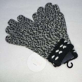 クロエ(Chloe)の新品 クロエ Chloe 手袋 ニット ブラック&ホワイト(手袋)