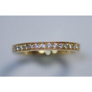 K18 YG ダイヤモンド 0.15ct リング ハーフエタニティ ミル打ち (リング(指輪))