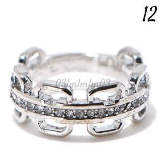 W6 リング 12号 人工石 ホワイトサファイア チェーンデザイン(リング(指輪))