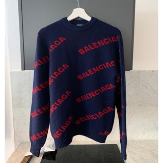 Balenciaga - 新品 Balenciaga バレンシアガ ロゴ セーター XS ニット ネイビー