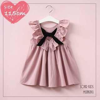 アウトレット⭐︎ 115cm(130) バックリボンフリルワンピース海外子供服(ワンピース)