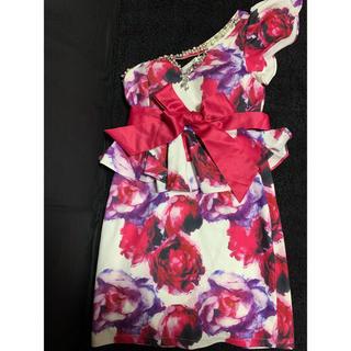 デイジーストア(dazzy store)のキャバ ドレス ワンショルダー ピンク 紫(ミニドレス)