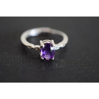 125-1 天然アメジスト 紫水晶 リング 指輪 2月誕生石(リング(指輪))