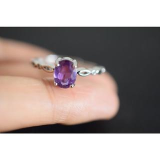 125-2 天然アメジスト 紫水晶 リング 指輪 2月誕生石(リング(指輪))