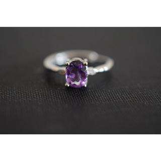 125-3 天然アメジスト 紫水晶 リング 指輪 2月誕生石(リング(指輪))