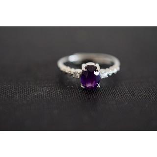 125-4 天然アメジスト 紫水晶 リング 指輪 2月誕生石(リング(指輪))