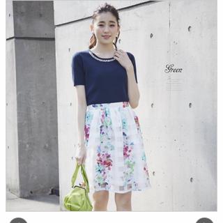 トッコ(tocco)のシアーチェックフラワーオーガンジースカート(ひざ丈スカート)