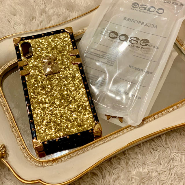 シークイン iPhone case X/XS 用 黒金の通販