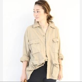 ロスコ(ROTHCO)の美品⭐ロスコ ROTHCO ミリタリーシャツジャケット ベージュ(ミリタリージャケット)