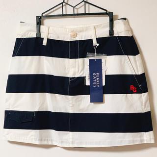 パーリーゲイツ(PEARLY GATES)の新品✨PEARLYGATES😊パーリーゲイツ✨黒白ボーダースカート サイズ0(その他)