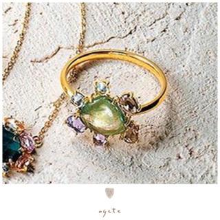 アガット(agete)の新品♡agete♡1点物♡K18リング♡トルマリン♡マルチカラーサファイア(リング(指輪))
