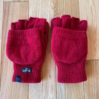 ビームス(BEAMS)の美品 手袋 ウール 赤 指先なし(手袋)