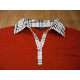 BURBERRY - 中古 バーバリーゴルフ 半袖ポロシャツ 赤 L