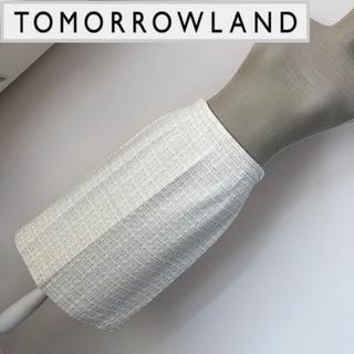 トゥモローランド(TOMORROWLAND)のトゥモローランド ツイード調スカート 白(ひざ丈スカート)