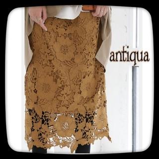 アンティカ(antiqua)のantiqua アンティカ レーススカート/ベージュ/キャメル(ロングスカート)