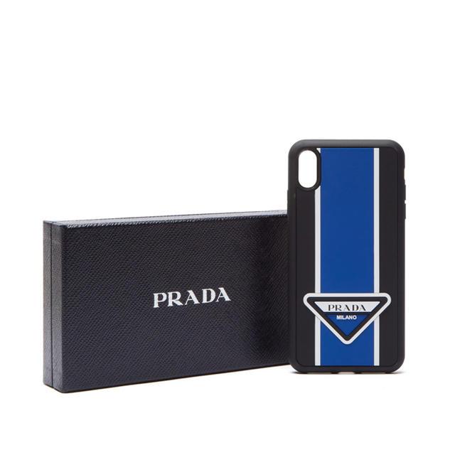 iphone8 ケース 画面 割れ ない | PRADA iPhone XS MAX ロゴストライプ ケース 正規品 新品の通販