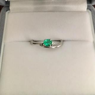 ダイヤモンド×グリーントルマリン リング Pt900 0.21ct 3.2g(リング(指輪))