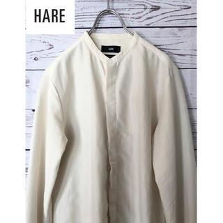 HARE - ハレ 日本製バンドカラー比翼前立てシャツ 生成り白 S