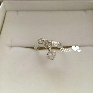 スタージュエリー(STAR JEWELRY)の美品 ピンキーリング ジルコニアダイヤモンド ハートリング 揺れるチャーム(リング(指輪))
