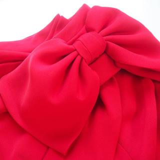 タダシショウジ(TADASHI SHOJI)のタダシショウジ新品ロングドレス★赤 9号 貴重なUS2 リボン レッド 赤 (ロングドレス)