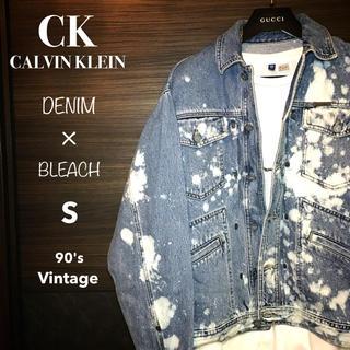 カルバンクライン(Calvin Klein)のS◆90'sヴィンテージ古着◆CKブリーチデニムジャケット◆リメイク 一点物◆(Gジャン/デニムジャケット)