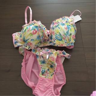 花柄 ブラ&ショーツ ピンク(ブラ&ショーツセット)