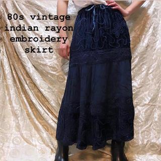 トーガ(TOGA)の80s vintage indian rayon ベロア ロングスカート 刺繍(ロングスカート)