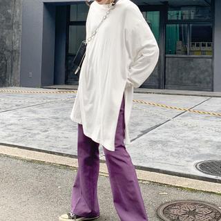 フーズフーギャラリー(WHO'S WHO gallery)のサイドスリットロンTワンピース ホワイト(Tシャツ(長袖/七分))
