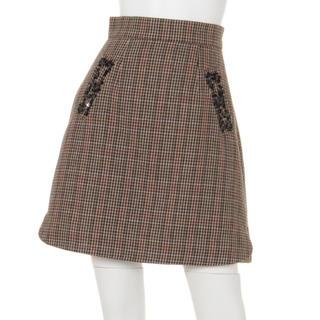 リランドチュール(Rirandture)のリランドチュール ビジュー調付Aラインスカート(ミニスカート)